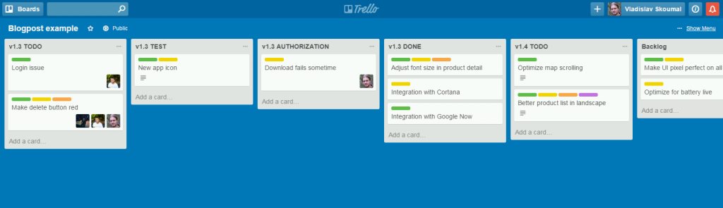 Example of our Trello board