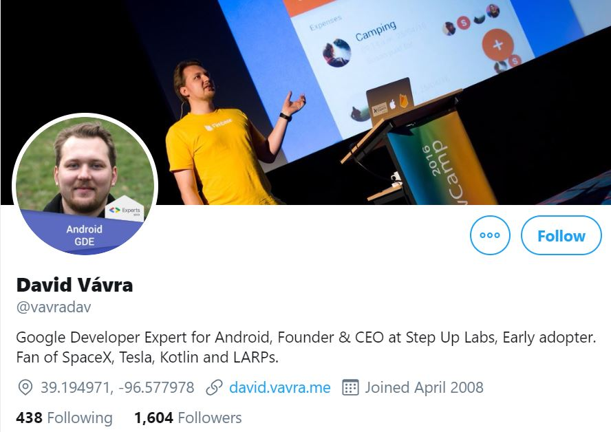 Instagram account photo of David Vávra, Google Developer Expert, and his cover photo with him speaking in public