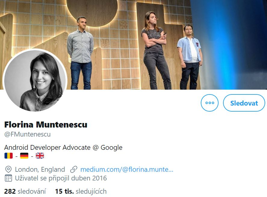 Instagram profile black-and-white photo of Florina Muntenescu, Android Developer Advocate, smiling and her cover photo of her speaking in public with two other men