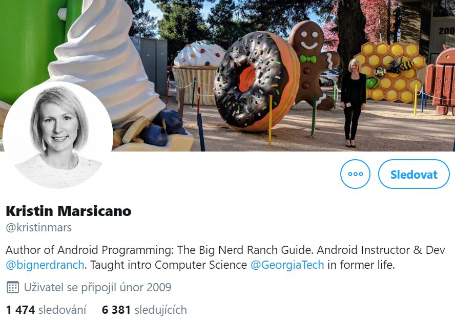 Instagram profile black-and-white photo of Kristin Marsicano, the author of Android Programming, smiling and her cover photo with her standing in front of a big doughnut and gingerbread man