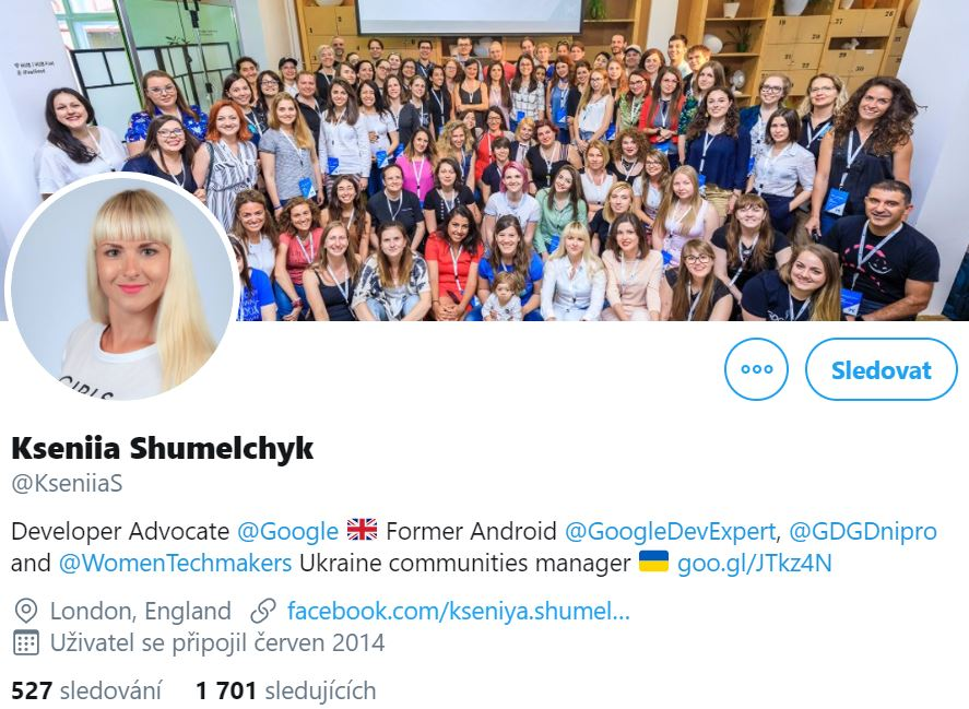 Instagram account photo of Kseniia Shumelchyk, Developer Advocate at Google featuring her and her team