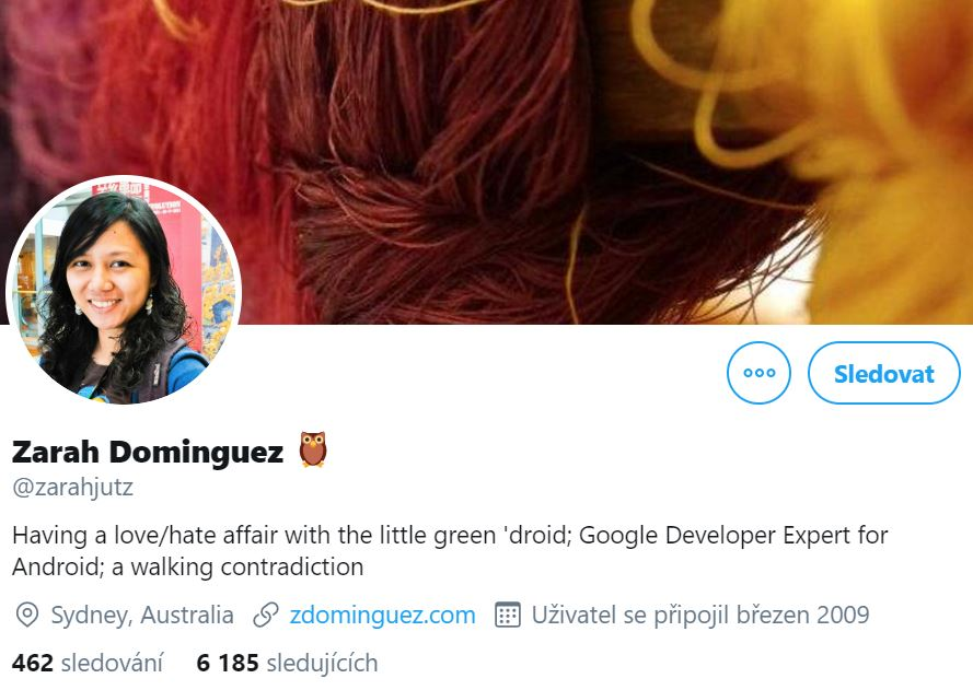 Instagram profile photo of Zarah Dominguez, Google Developer Expert smiling and her cover picture with colourful threads