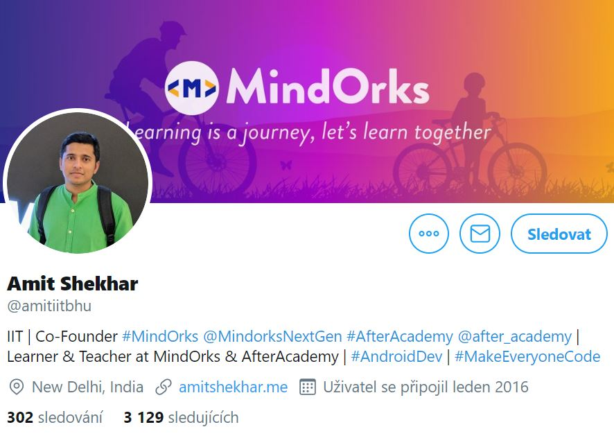 Instagram profile photo of Amit Shekhar, Co-Founder of MindOrks standing in green shirt behind him is logo of MindOrks featuring people riding bicycles
