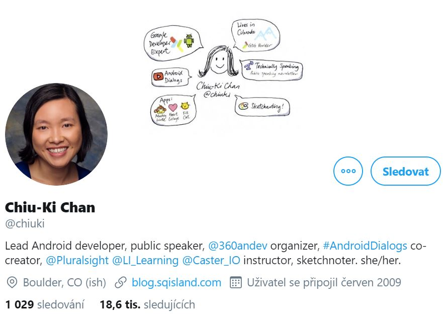Instagram profile photo of Chiu-Ki Chan, Lean Android developer, smiling and her cover photo of a simple drawing of Chiu/Ki Chan's head and some writing in bubbles