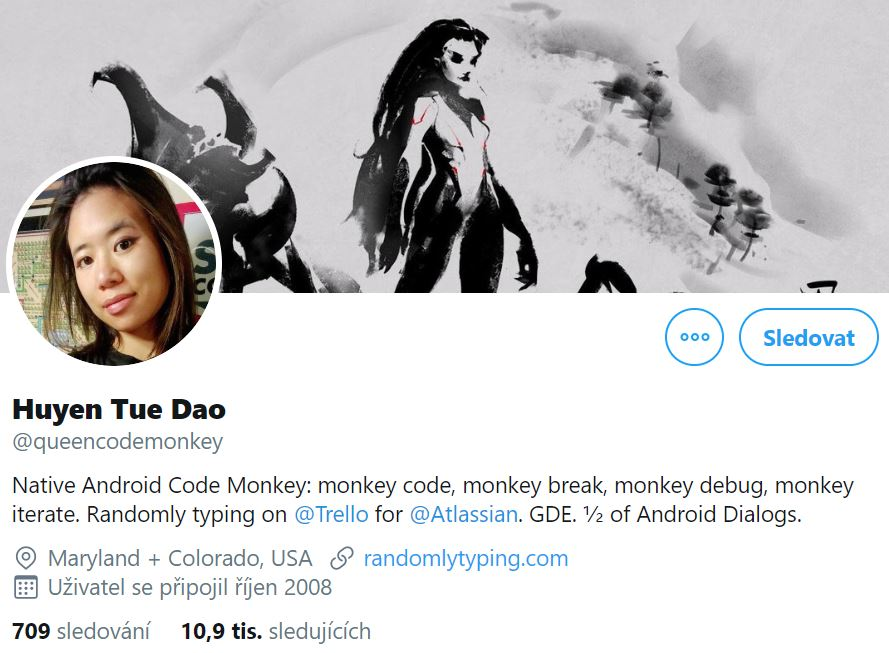 Instagram profile photo of Huyen Tue Dao, Native Android developer at Trello and Atlassian with cover photo featuring black-and-white painting of a woman