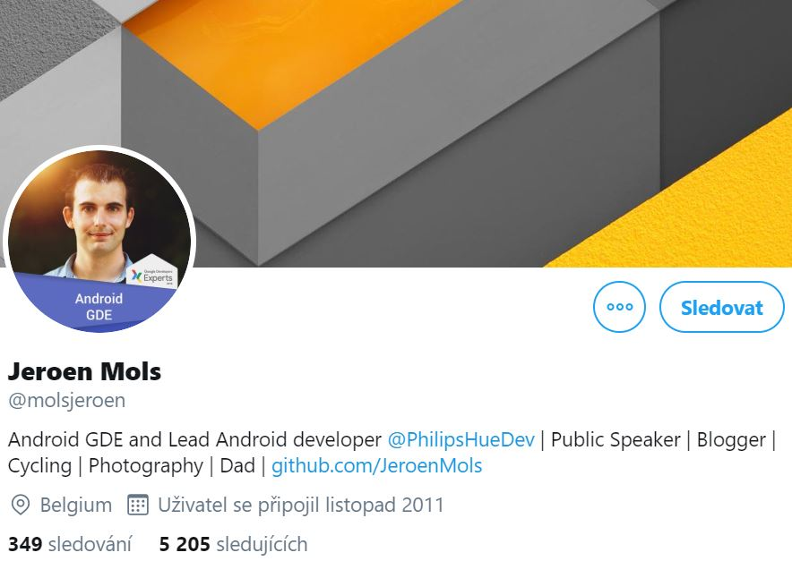 Instagram profile photo of Jeroen Mols, Android Developer at Philips and Android GDE with his abstract cover photo