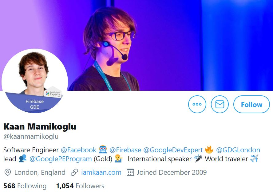 Instagram profile photo of Kaan Mamikoglu, Software Engineer at Facebook and Firebase GDE with his cover photo of him as an international speaker on blue stage