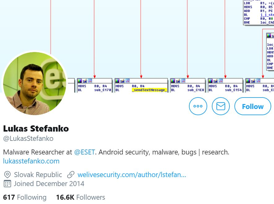 Twitter profile photo by Lukas Stefanko, Malware Researcher at ESET,