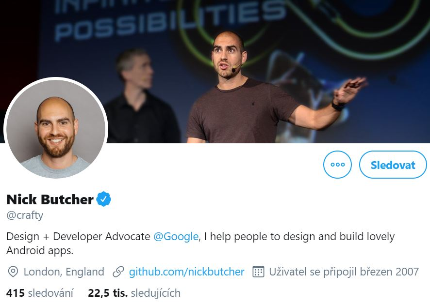 Instagram profile photo of Nick Butcher, Design and Developer Advocate at Google smiling and his cover photo of him as Advocate speaking in public