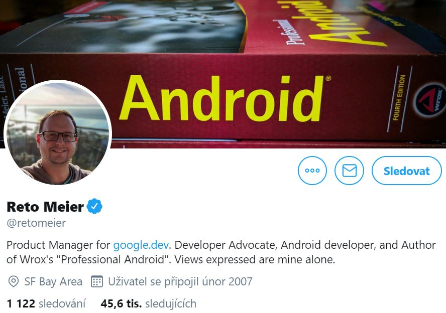 Instagram profile photo of Reto Meier, Product Manager at google.dev smiling and his cover photo with the book Professional Android