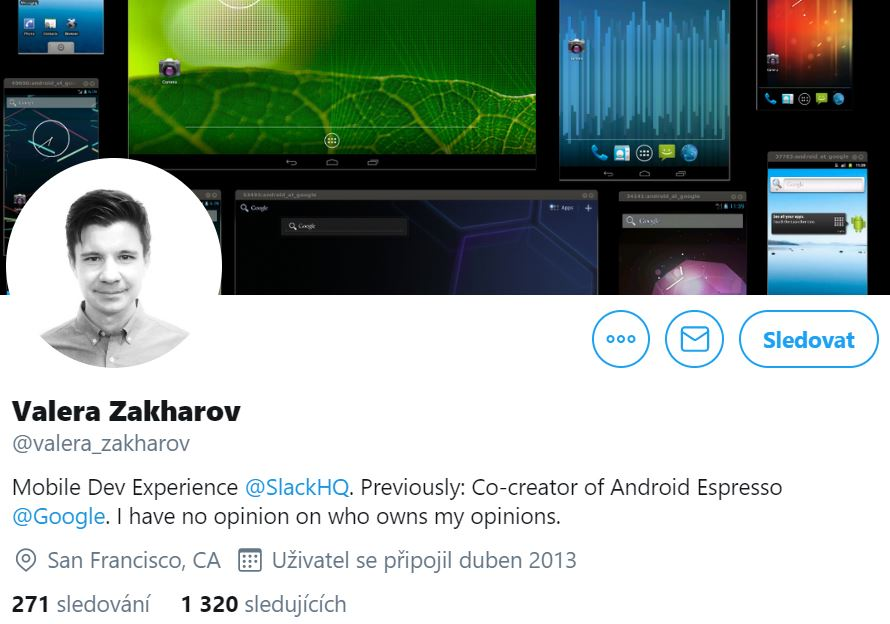 Instagram profile photo of Valera Zakharov, Mobile Dev Experience at Slack featuring his black and white photo and his cover photo with colourful screens