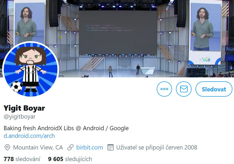 Instagram profile photo of Yigit Boyar, Android Developer, featuring his cartoon football self and his cover photo with him speaking in public