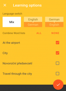 Vocabulary Miner yellow screenshot with learning options such as language switch