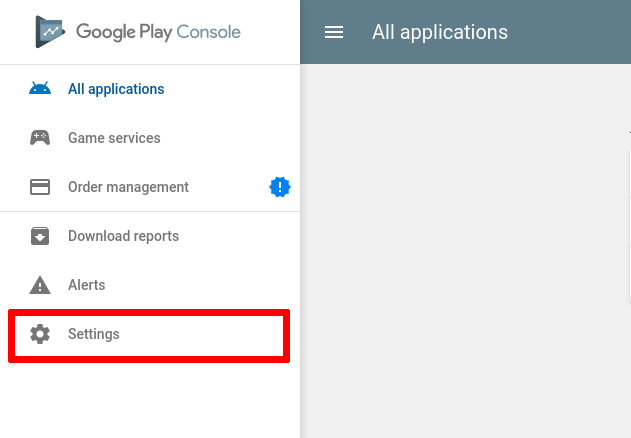 Google Play screenshot with Settings red highlighted